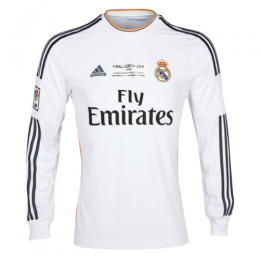 13-14 Real Madrid Home White Long Sleeve Retro Jerseys Shirt
