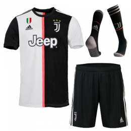 19-20 Juventus Home Black&White Soccer Jerseys Kit(Shirt+Short+Socks),