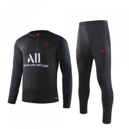19/20 PSG Black Zipper Sweat Shirt Kit(Top+Trouser)