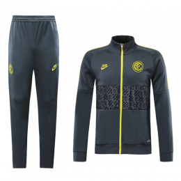 19-20 Inter Milan Gray&Yellow High Neck Collar Training Kit(Jacket+Trouser)