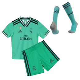 19/20 Real Madrid Third Away Green Children's Jerseys Kit(Shirt+Short+Socks)
