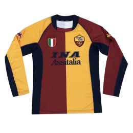 01/02 Roma Home Red&Yellow Retro Long Sleeve Jerseys Shirt