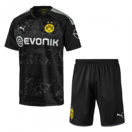 19/20 Borussia Dortmund Away Black Soccer Jerseys Kit(Shirt+Short),