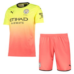 19/20 Manchester City Third Away Yellow&Orange Jerseys Kit(Shirt+Short),