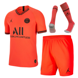 19/20 PSG JORDAN Away Red&Orange Soccer Jerseys Whole Kit(Shirt+Short+Socks)