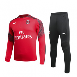 19/20 AC Milan Red Zipper Sweat Shirt Kit(Top+Trouser)