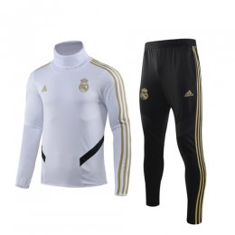 19/20 Real Madrid White High Neck Collar Sweat Shirt Kit(Top+Trouser),