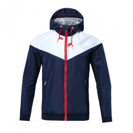 Customize Team White&Navy Hoodie Windrunner Jacket