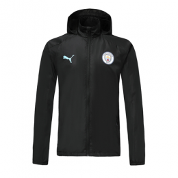 19/20 Manchester City Black Hoodie Windrunner Jacket