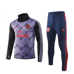 19/20 Arsenal Purple High Neck Collar Sweat Shirt Kit(Top+Trouser),