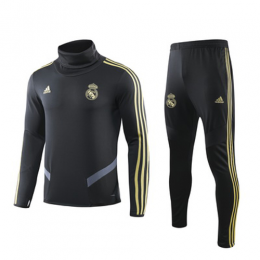 19/20 Real Madrid Black High Neck Collar Sweat Shirt Kit(Top+Trouser),