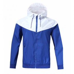 Customize Team White&Blue Hoodie Windrunner Jacket