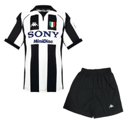 97-98 Juventus Home Black&White Soccer Retro Jerseys Kit(Shirt+Short)