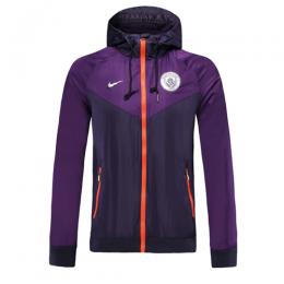19-20 Manchester City Purple Hoodie Windrunner Jacket