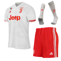 19/20 Juventus Away White Soccer Jerseys Whole Kit(Shirt+Short+Socks),