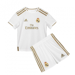 19-20 Real Madrid Home White Children's Jerseys Kit(Shirt+Short),