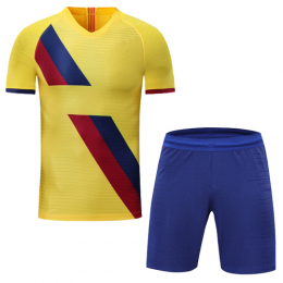 Barcelona Style Customize Team Yellow Soccer Jerseys Kit(Shirt+Short)