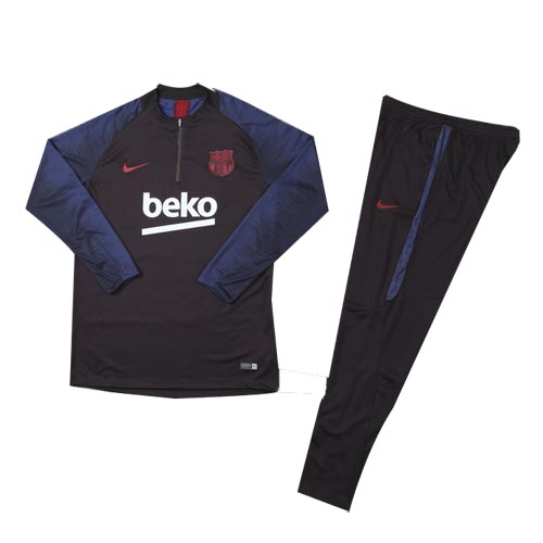 Kids 19/20 Barcelona Red Zipper Sweat Shirt Kit(Top+Trouser)