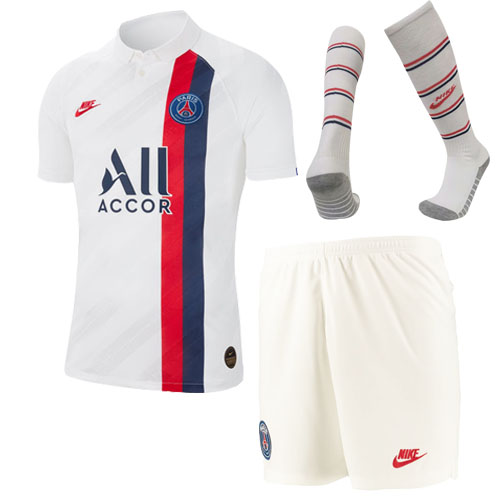 19/20 PSG Third Away White Soccer Jerseys Whole Kit(Shirt+Short+Socks)
