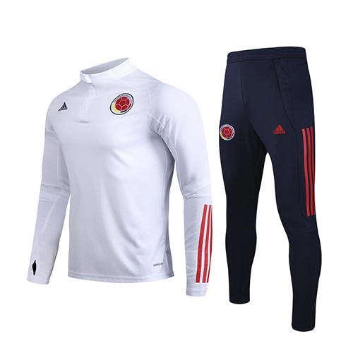 2020 Colombia White Zipper Sweat Shirt Kit(Top+Trouser)