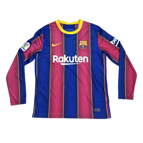 20/21 Barcelona Home Blue&Red Long Sleeve Jerseys Shirt