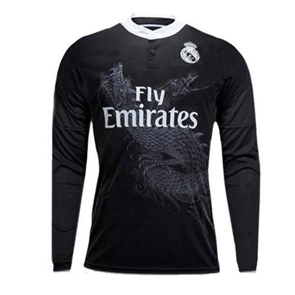 14/15 Real Madrid Away Black Long Sleeve Retro Jerseys Shirt