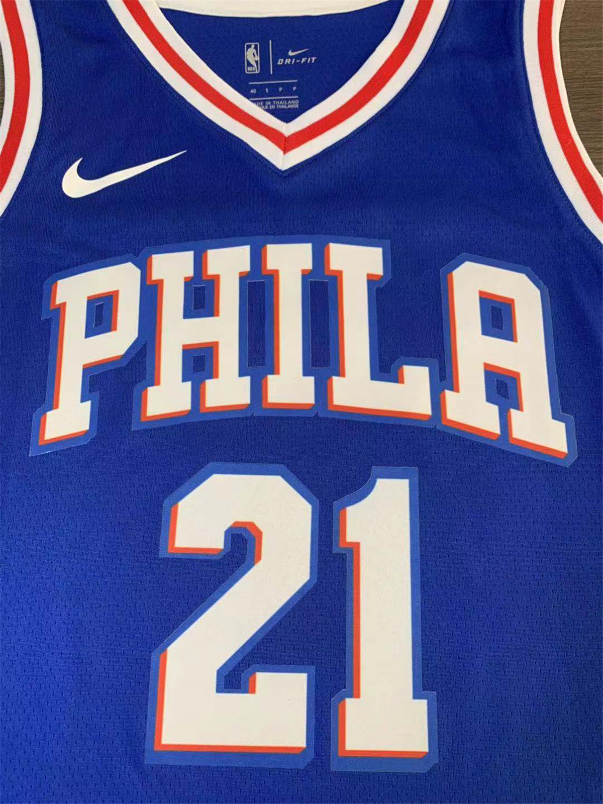 Men's Philadelphia 76ers Joel Embiid No.21 Bule Swingman Jersey - Icon Edition