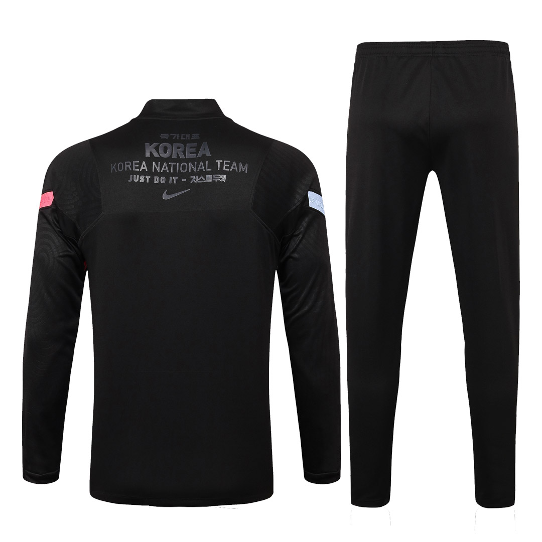 2020 South Korea Black Zipper Sweat Shirt Kit(Top+Trouser)