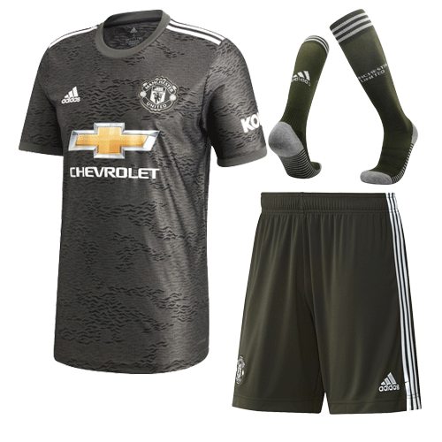 20/21 Manchester United Away Black Jerseys Whole Kit(Shirt+Short+Socks)