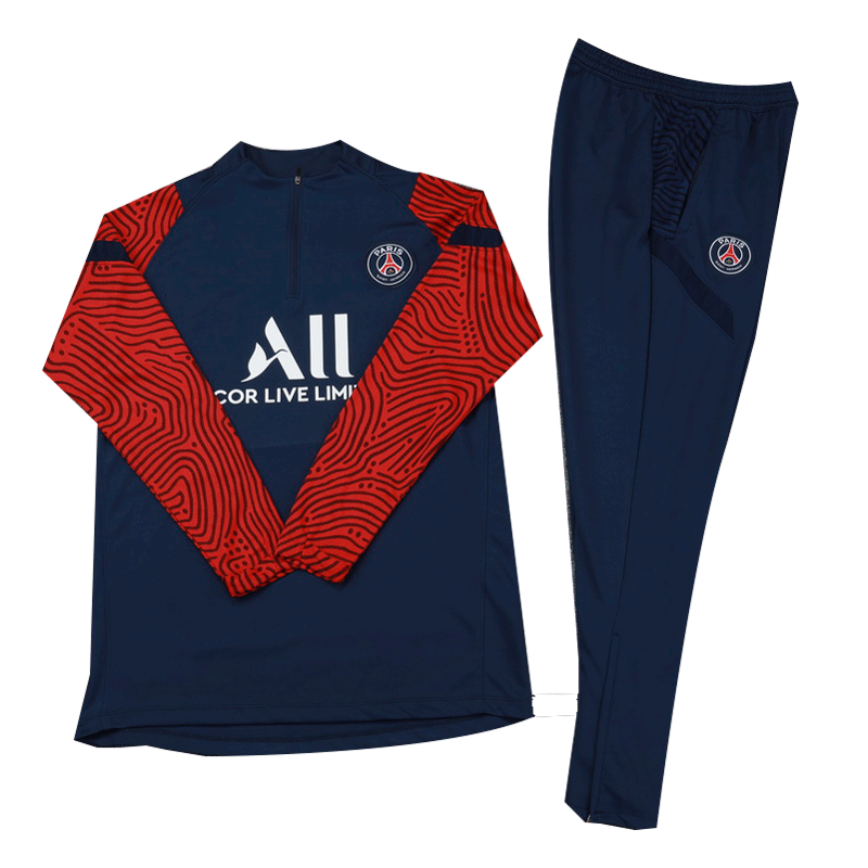 Kids 20/21 PSG Navy Zipper Sweat Shirt Kit(Top+Trouser)