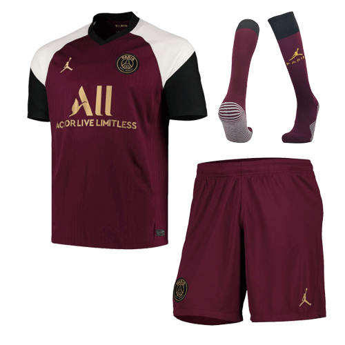 20/21 PSG Third Away Dark Red Soccer Jerseys Whole Kit(Shirt+Short+Socks)