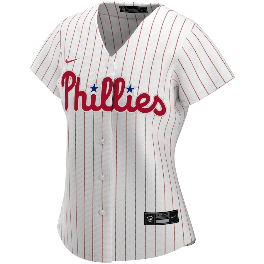 Women's Philadelphia Phillies Nike White&Scarlet 2020 Home Replica Custom Jersey