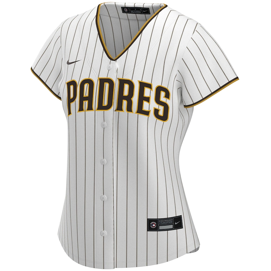 Women's San Diego Padres Nike White&Brown 2020 Home Replica Custom Jersey
