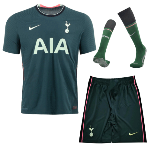20/21 Tottenham Hotspur Away Dark Green Soccer Jerseys Kit(Shirt+Short+Socks)
