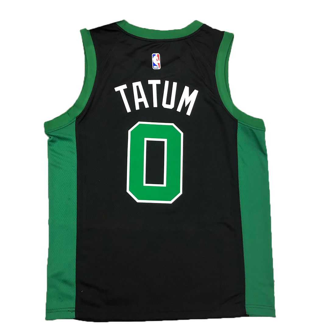 Men's Boston Celtics Jaylen Tatum #0 Jordan Black&Green 2020/21 Swingman Jersey - City Edition