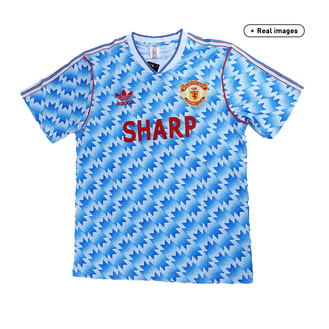90/92 Manchester United Away Blue Retro Jerseys Shirt