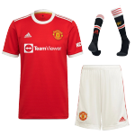 Manchester United Home Jersey Kit 2021/22 By Adidas - Red&White