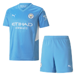 Manchester City Home Jersey Kit 2021/22 By Puma - Youth