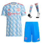 Manchester United Away Jersey Kit 2021/22 By Adidas - White&Blue