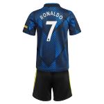 RONALDO #7 Manchester United Third Away Jersey Kit 2021/22 By Adidas - Youth
