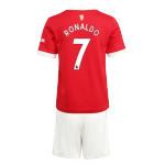 RONALDO #7 Manchester United Home Jersey Kit 2021/22 By Adidas - Youth